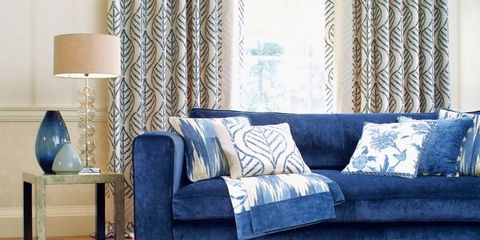 Curtain, Interior design, Living room, Blue, Room, Window treatment, Furniture, Wall, Window covering, Property,