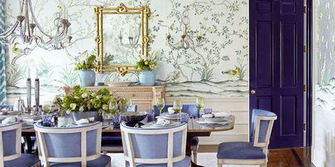 Blue, Room, Dining room, Furniture, Interior design, Lavender, Purple, Table, Blue and white porcelain, Porcelain,