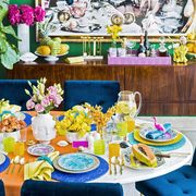 tropical brunch tablescape