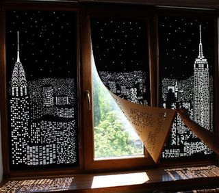 Blackout city curtains holewall city shades Blackout curtains city skyline