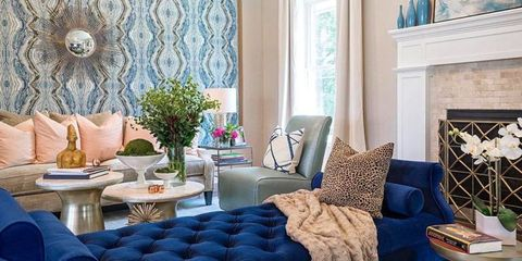Living room, Blue, Room, Interior design, Furniture, Property, Curtain, Wall, Home, Turquoise,