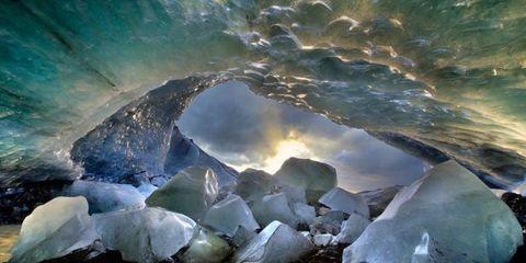 Ice cave, Cave, Glacial landform, Glacier cave, Ice, Formation, Geological phenomenon, Rock, Mineral, Erosion,