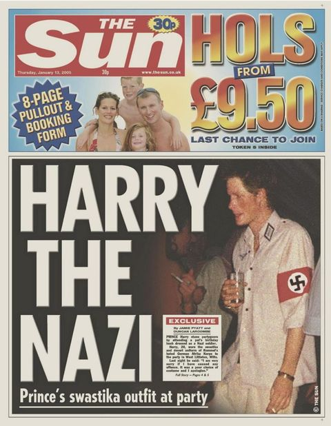 "<p>For reasons best described as ""WTF were you thinking?"" Harry attended a circa 2005 costume wearing a Nazi uniform, and understandably experienced major backlash. The Prince ended up <a href=""http://www.nytimes.com/2005/01/13/world/europe/prince-harry-apologizes-for-nazi-costume.html"" target=""_blank"" data-tracking-id=""recirc-text-link"">apologizing</a>, saying ""[I am] very sorry if I caused any offense or embarrassment to anyone. It was a poor choice of costume and I apologize."" Meanwhile, Tony Blair's office chimed in by musing ""Clearly an error was made that has been recognized by Harry, and I think it is better that this matter continues to be dealt with by [Buckingham] Palace.""<span class=""redactor-invisible-space"" data-verified=""redactor"" data-redactor-tag=""span"" data-redactor-class=""redactor-invisible-space""></span></p>"