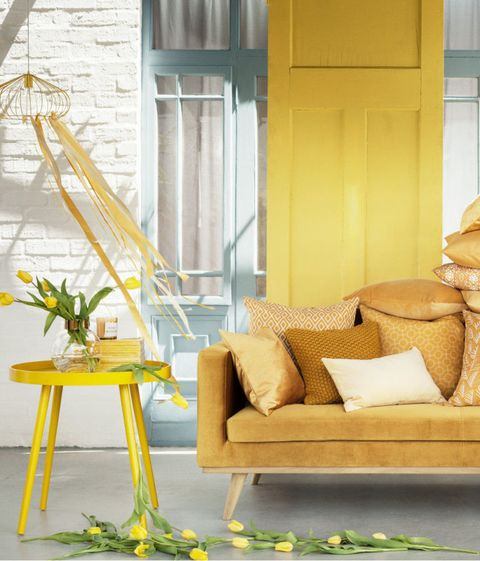 Yellow, Couch, Interior design, Living room, Door, Beige, Interior design, Sun hat, studio couch, Home,