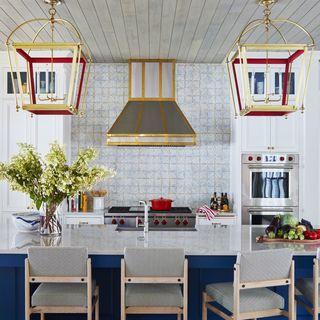 summer thornton blue and red kitchen