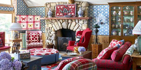 Room, Interior design, Textile, Home, Red, Living room, Wall, Furniture, Interior design, Linens,