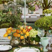 Centrepiece, Green, Flower Arranging, Yellow, Floristry, Flower, Floral design, Orange, Table, Meal,