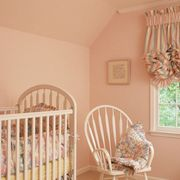 Room, Product, Infant bed, Nursery, Property, Furniture, Pink, Interior design, Bed, Window treatment,