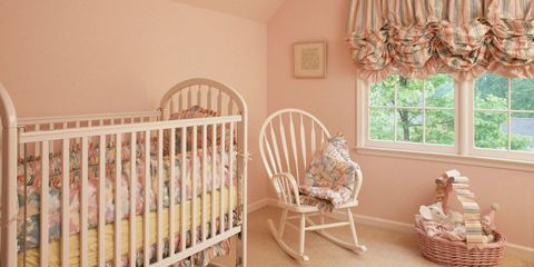 Room, Product, Infant bed, Nursery, Property, Furniture, Pink, Ceiling, Wall, Interior design,