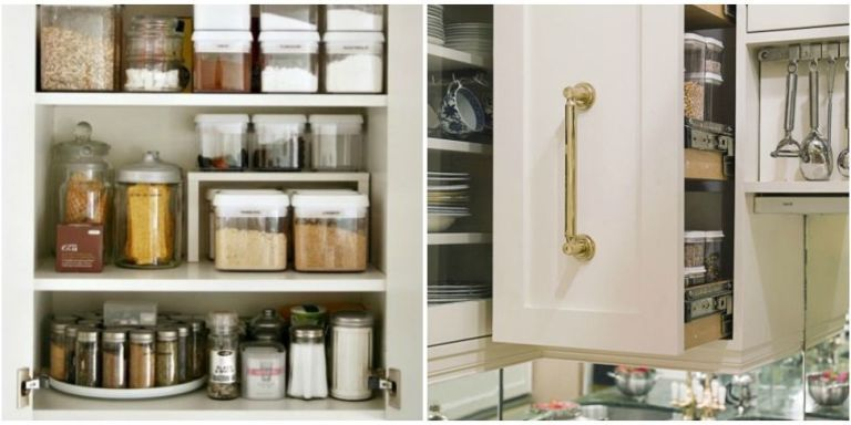 How to organize kitchen cabinets storage tips ideas for Bathroom cabinet organizer ideas