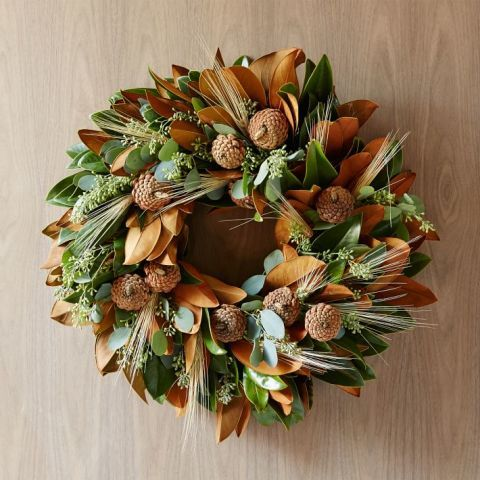 West Elm Magnolia Wheat Wreath