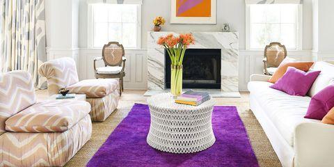 Furniture, Living room, Room, Interior design, Property, Purple, Table, Coffee table, Violet, Floor,