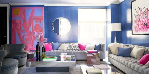 Interior design, Room, Living room, Wall, Purple, Furniture, Couch, Ceiling, Floor, Pink,