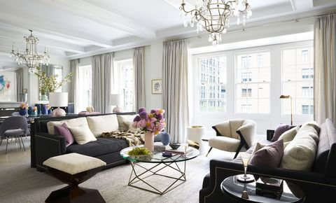 Living room, Room, Interior design, Furniture, White, Property, Coffee table, Building, Ceiling, Purple,