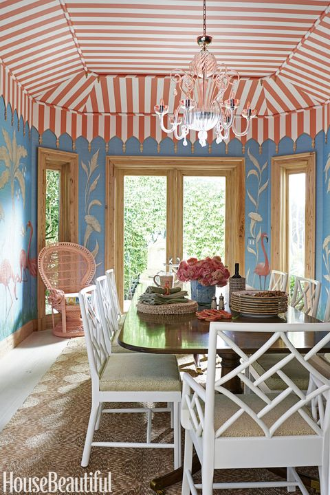 Room, Furniture, Ceiling, Interior design, Property, Building, Dining room, Home, Table, Turquoise,