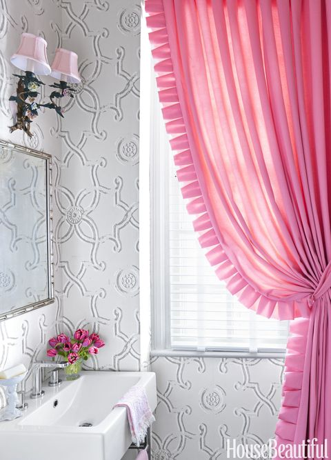 Curtain, Window treatment, Pink, Interior design, Window covering, Room, Textile, Wall, Wallpaper, Window,
