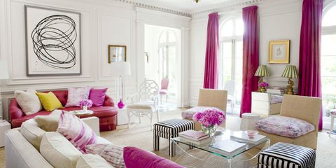 Living room, Room, Pink, Interior design, Furniture, Property, Decoration, Purple, Curtain, Ceiling,