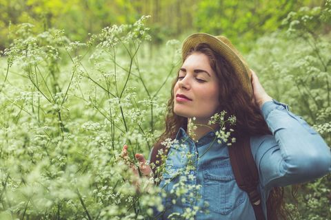 People in nature, Hair, Green, Nature, Beauty, Grass, Botany, Spring, Meadow, Plant,