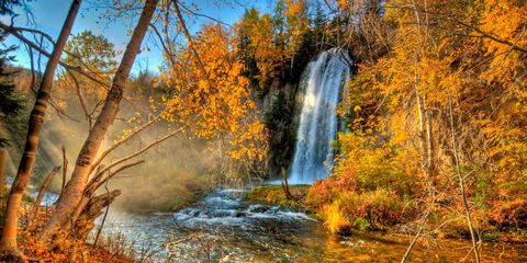 Natural landscape, Nature, Body of water, Waterfall, Tree, Water, Nature reserve, Leaf, Watercourse, Autumn,