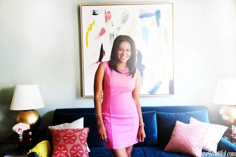 Room, Interior design, Lamp, Lampshade, Pink, Interior design, Dress, Couch, Pillow, Purple,