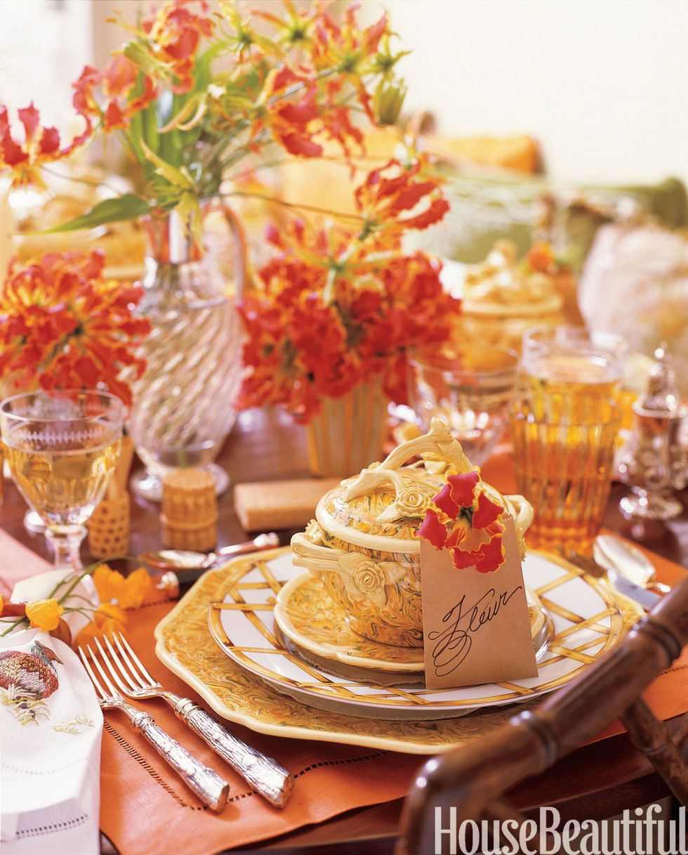 Orange Theme Color Thanksgiving Decor with a Tureen