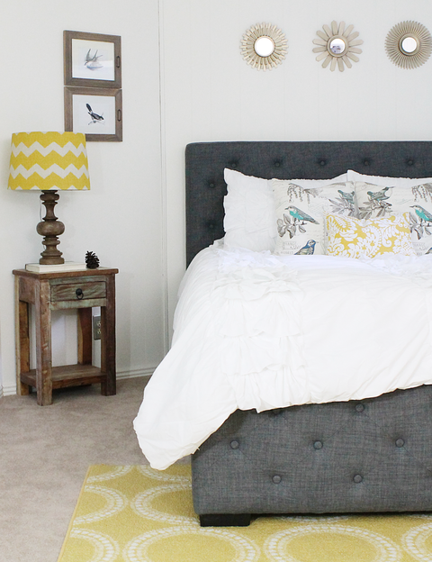 Room, Yellow, Textile, Interior design, Furniture, Wall, Bedding, Linens, Floor, Bedroom,