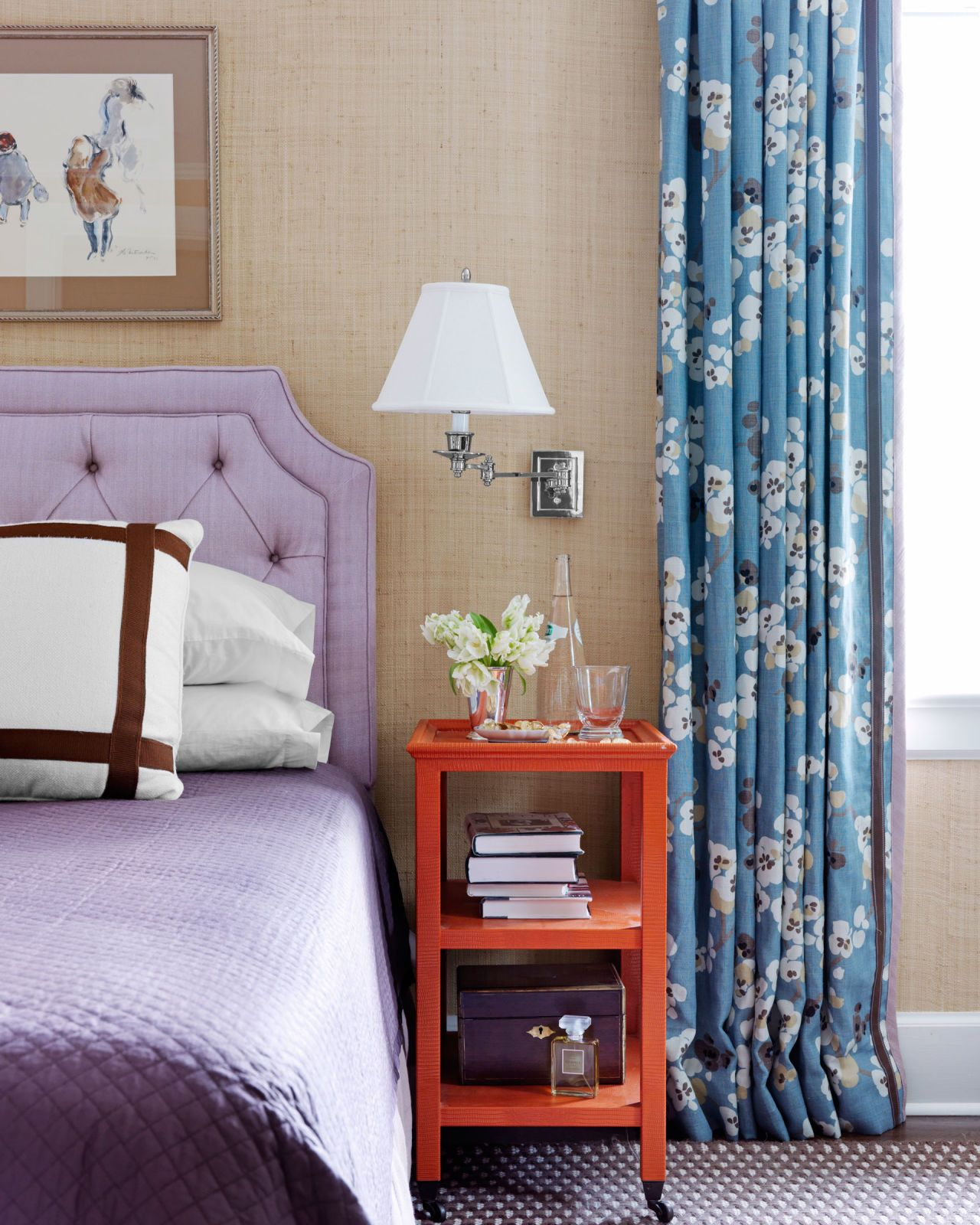 tufted purple headboard