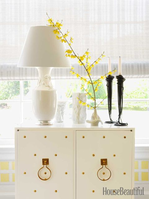 gold and white cabinet