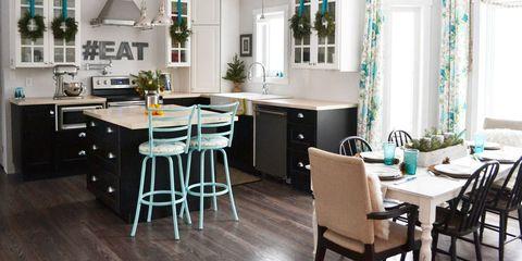 Wood, Room, Green, Floor, Interior design, Flooring, Furniture, Countertop, Table, Ceiling,