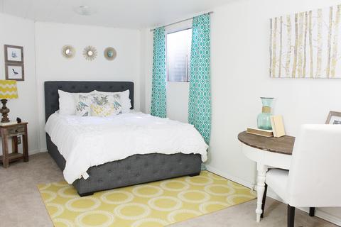 Room, Green, Interior design, Bed, Product, Floor, Property, Wall, Bedding, Bedroom,