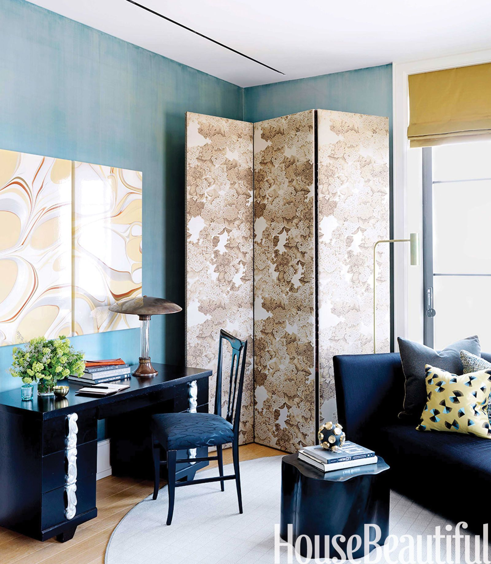 Paint color ideas for office Walls 12 Colorful Home Offices House Beautiful Colors For Home Offices Paint Color Ideas For Home Offices