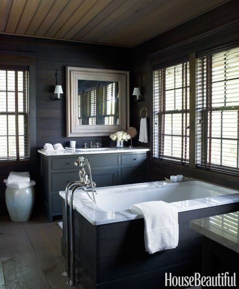dark stained pine bathroom