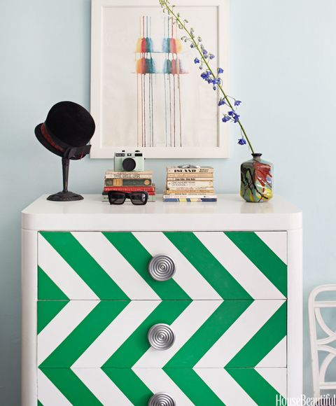 emerald green chevron dresser