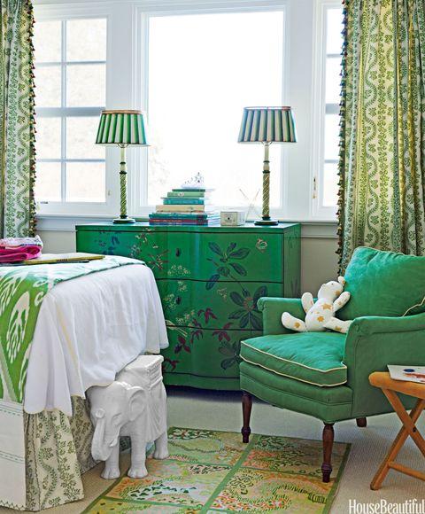 green floral dresser