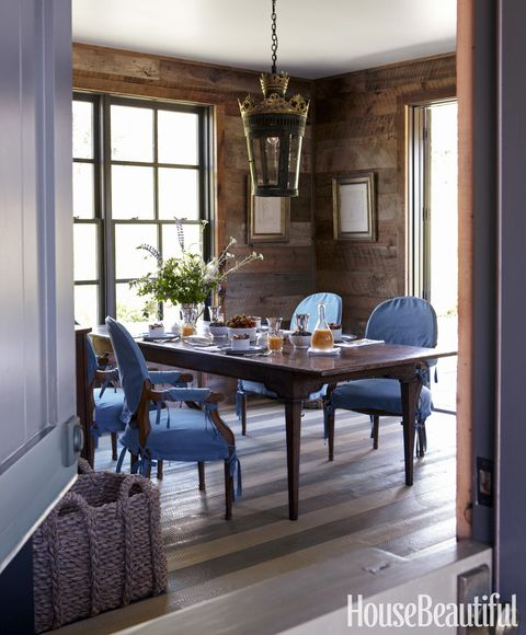 blue slipcovered dining chairs