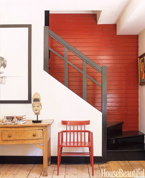 red wall foyer