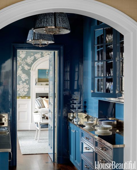 lacquered blue pantry