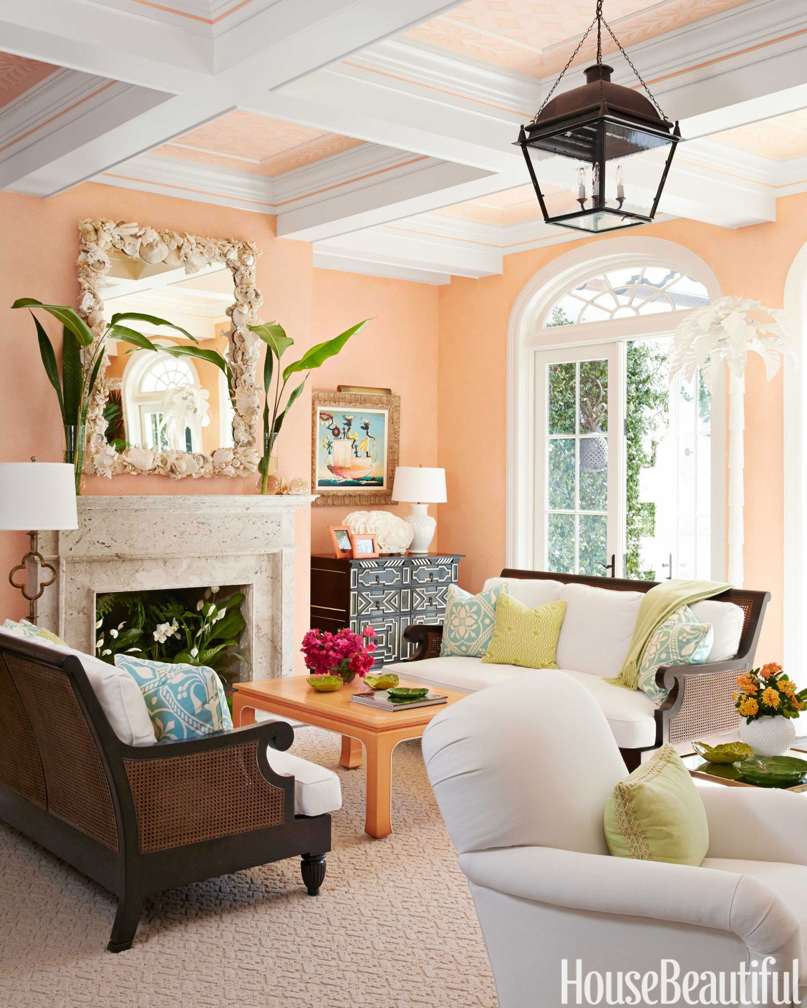 Peach And Coral Painted Living Room