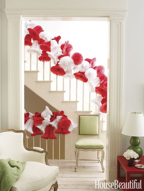red and white bell garland