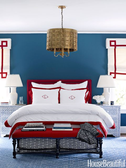 red white and blue bedroom
