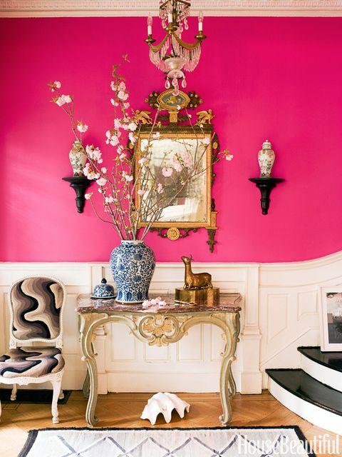 hot pink entryway