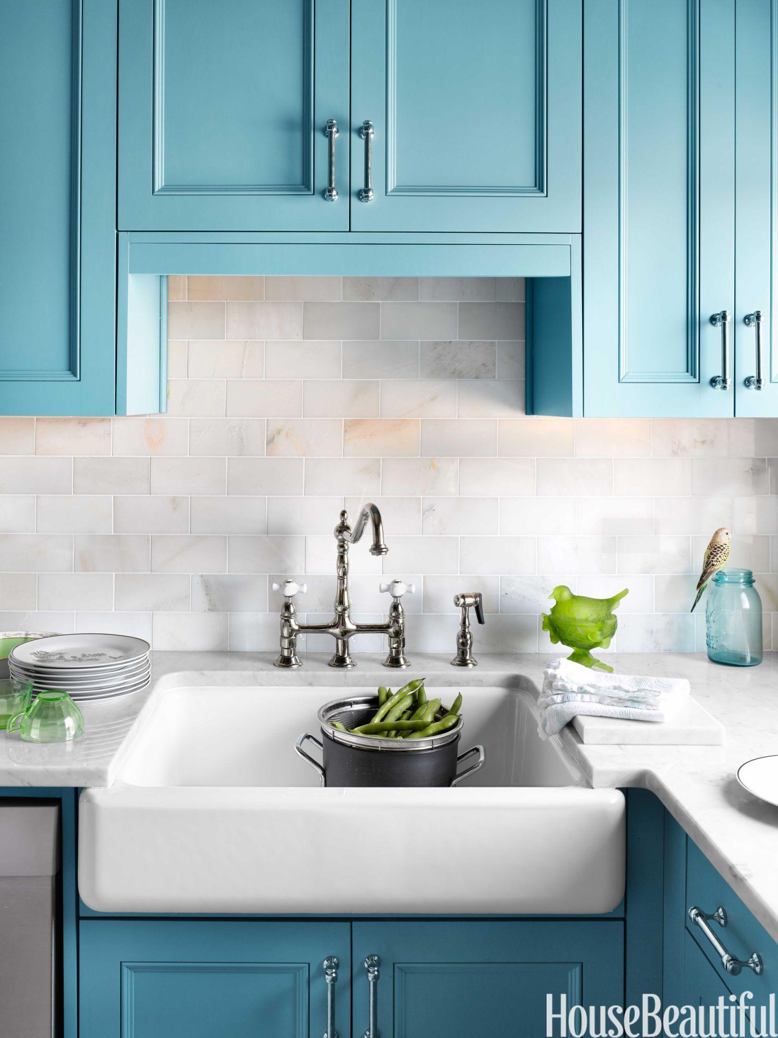 Small Blue Kitchen - Small Kitchen Design Tips