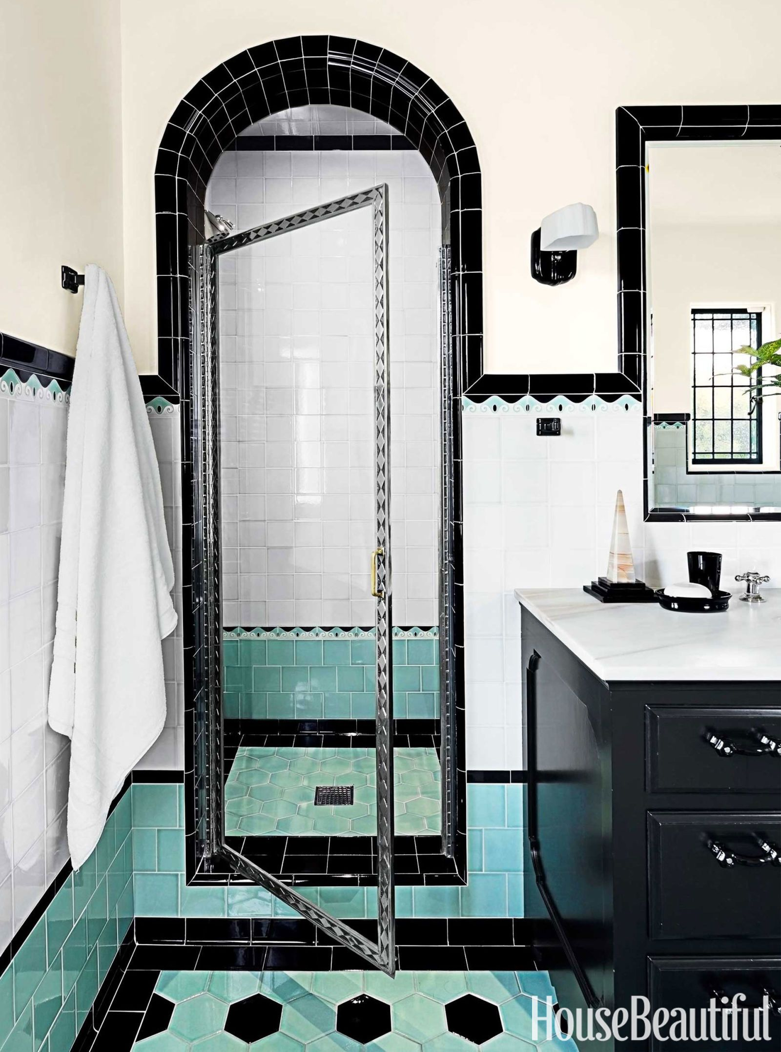 Bathroom With Colorful Tile 1930s