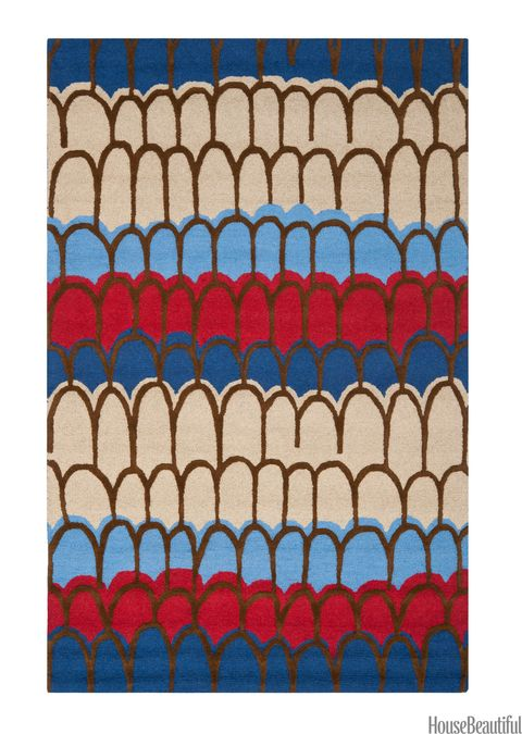 red beige and blue tufted wool rug