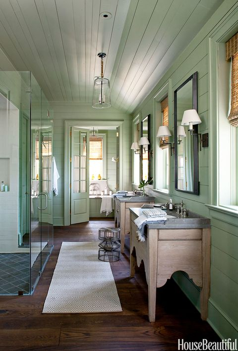 leafy green lake house bathroom