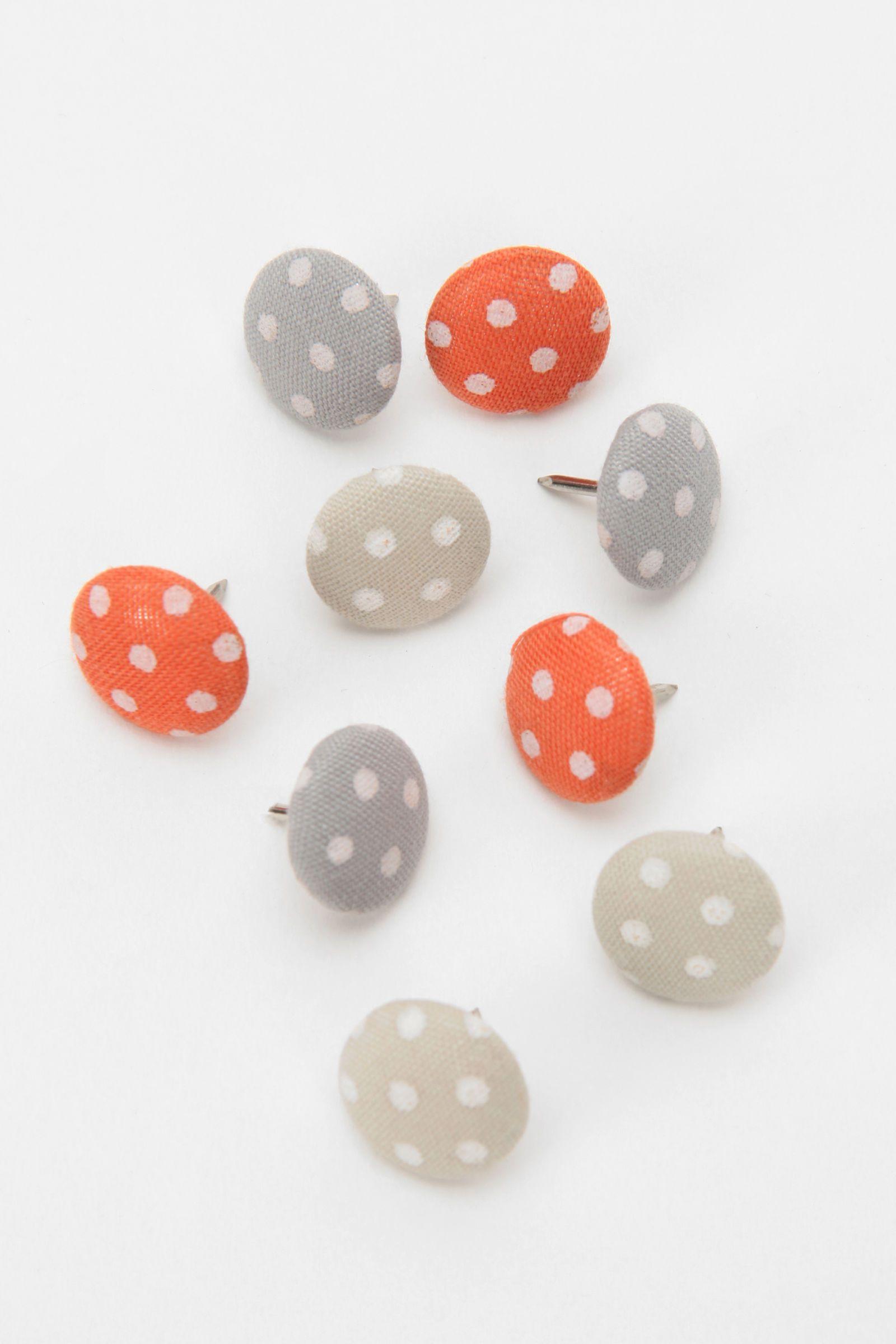 polka dot fabric thumbtacks