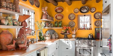 Yellow Kitchen with Santa Fe Style - Southwest Kitchen Decor on southwestern style kitchen, southwestern art wood working, southwestern style sofas,