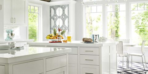 A Glossy, Sophisticated White Kitchen