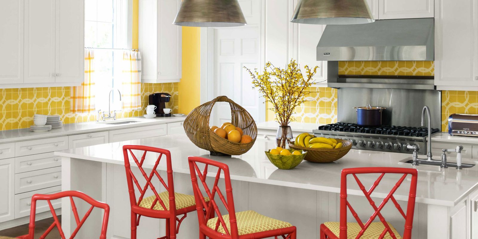 red bamboo chippendale chairs & Popular Kitchen Paint and Cabinet Colors - Colorful Kitchen Pictures