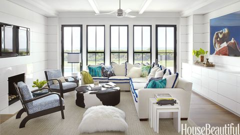 family room with blue fringe